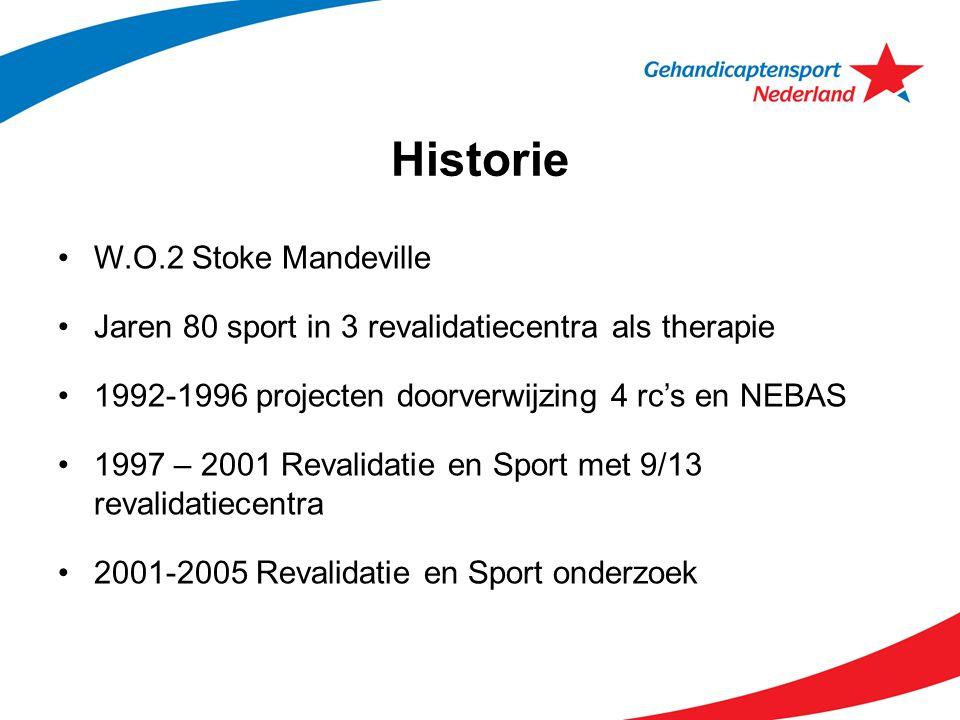 Historie W.O.2 Stoke Mandeville Jaren 80 sport in 3 revalidatiecentra als therapie 1992-1996 projecten doorverwijzing 4 rc's en NEBAS 1997 – 2001 Reva