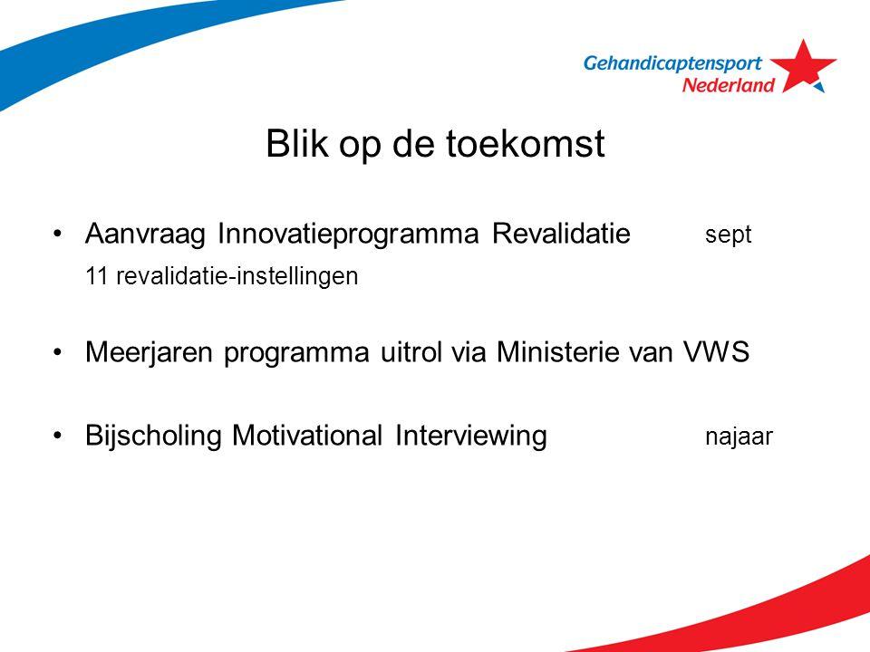 Blik op de toekomst Aanvraag Innovatieprogramma Revalidatie sept 11 revalidatie-instellingen Meerjaren programma uitrol via Ministerie van VWS Bijscho