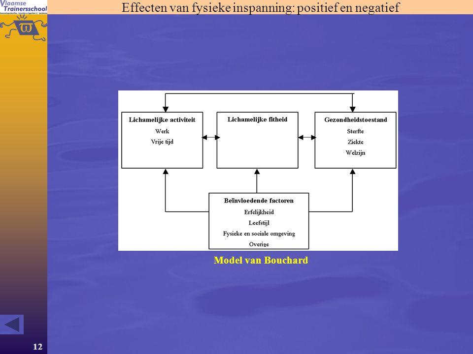 12 Effecten van fysieke inspanning: positief en negatief Model van Bouchard