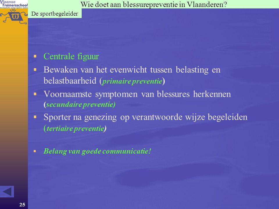 25 Wie doet aan blessurepreventie in Vlaanderen? De sportbegeleider  Centrale figuur  Bewaken van het evenwicht tussen belasting en belastbaarheid (
