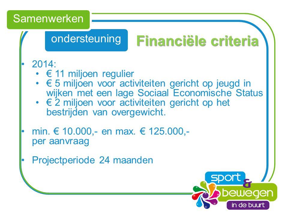 ondersteuning Samenwerken Financiële criteria 2014: € 11 miljoen regulier € 5 miljoen voor activiteiten gericht op jeugd in wijken met een lage Sociaa