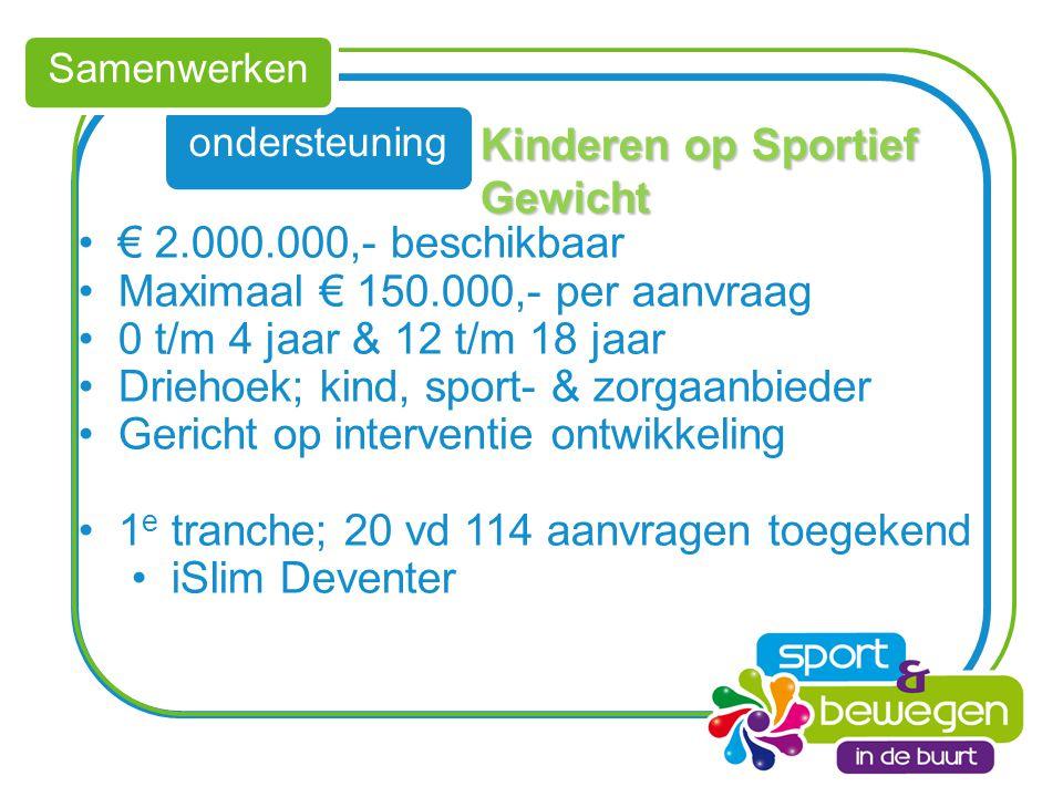 ondersteuning Samenwerken Kinderen op Sportief Gewicht € 2.000.000,- beschikbaar Maximaal € 150.000,- per aanvraag 0 t/m 4 jaar & 12 t/m 18 jaar Drieh