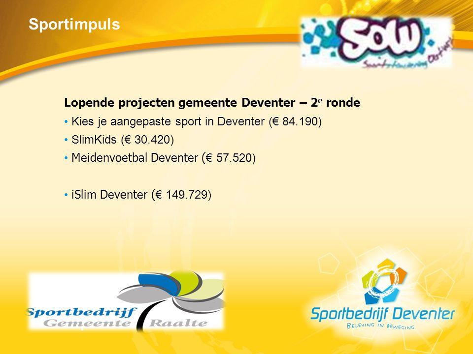 Sportimpuls Lopende projecten gemeente Deventer – 2 e ronde Kies je aangepaste sport in Deventer (€ 84.190) SlimKids (€ 30.420) Meidenvoetbal Deventer