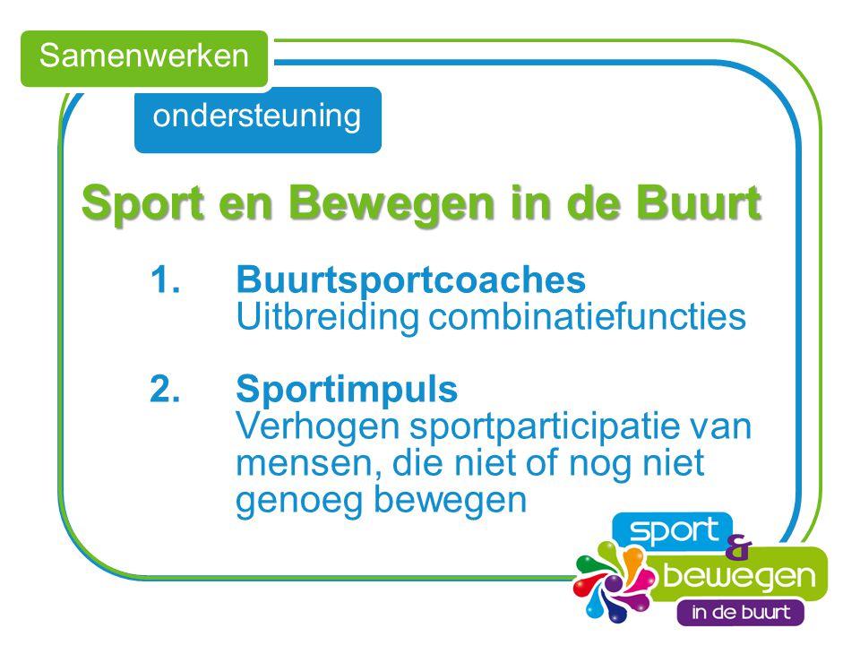 ondersteuning Samenwerken Sport en Bewegen in de Buurt Sport en Bewegen in de Buurt 1.Buurtsportcoaches Uitbreiding combinatiefuncties 2.Sportimpuls V