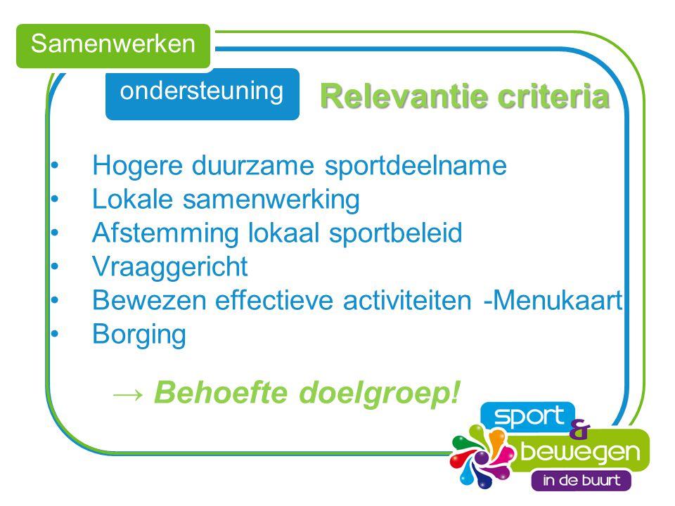 ondersteuning Samenwerken Relevantie criteria Hogere duurzame sportdeelname Lokale samenwerking Afstemming lokaal sportbeleid Vraaggericht Bewezen eff