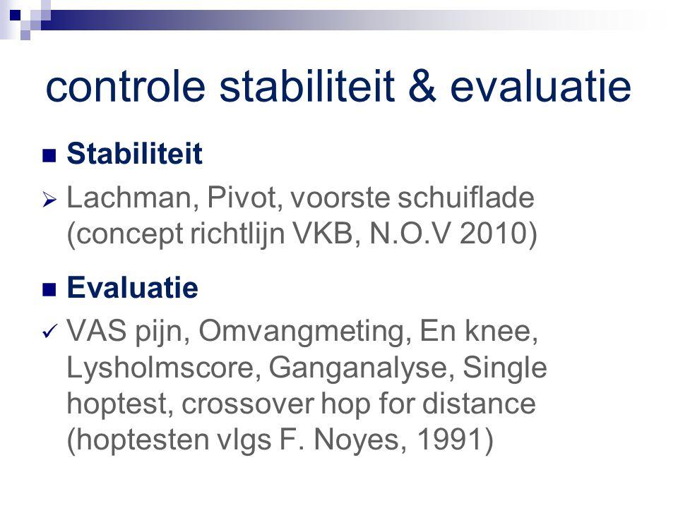 controle stabiliteit & evaluatie Stabiliteit  Lachman, Pivot, voorste schuiflade (concept richtlijn VKB, N.O.V 2010) Evaluatie VAS pijn, Omvangmeting