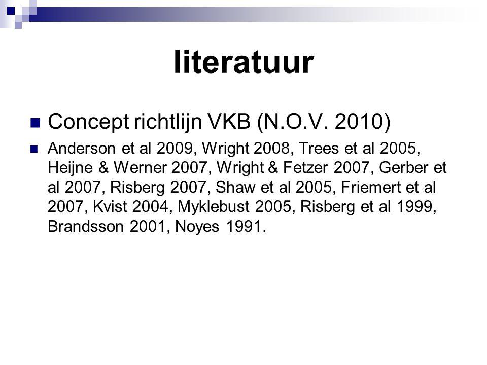 literatuur Concept richtlijn VKB (N.O.V. 2010) Anderson et al 2009, Wright 2008, Trees et al 2005, Heijne & Werner 2007, Wright & Fetzer 2007, Gerber