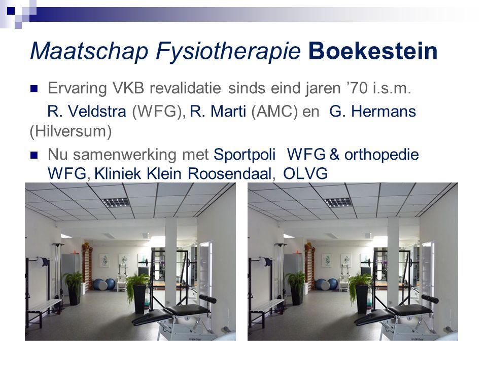 Maatschap Fysiotherapie Boekestein Ervaring VKB revalidatie sinds eind jaren '70 i.s.m. R. Veldstra (WFG), R. Marti (AMC) en G. Hermans (Hilversum) Nu