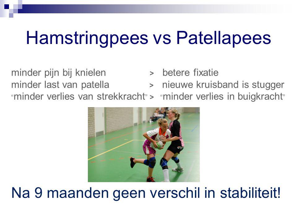 "Hamstringpees vs Patellapees minder pijn bij knielen > betere fixatie minder last van patella > nieuwe kruisband is stugger "" minder verlies van strek"