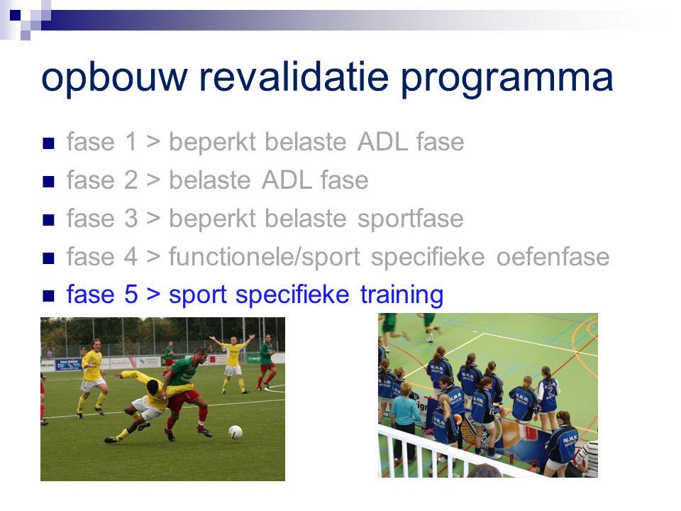 opbouw revalidatie programma fase 1 > beperkt belaste ADL fase fase 2 > belaste ADL fase fase 3 > beperkt belaste sportfase fase 4 > functionele/sport