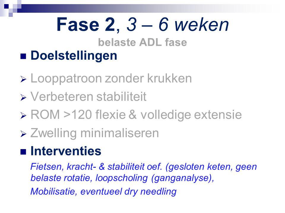 Fase 2, 3 – 6 weken belaste ADL fase Doelstellingen  Looppatroon zonder krukken  Verbeteren stabiliteit  ROM >120 flexie & volledige extensie  Zwe