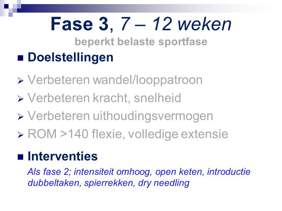 Fase 3, 7 – 12 weken beperkt belaste sportfase Doelstellingen  Verbeteren wandel/looppatroon  Verbeteren kracht, snelheid  Verbeteren uithoudingsve