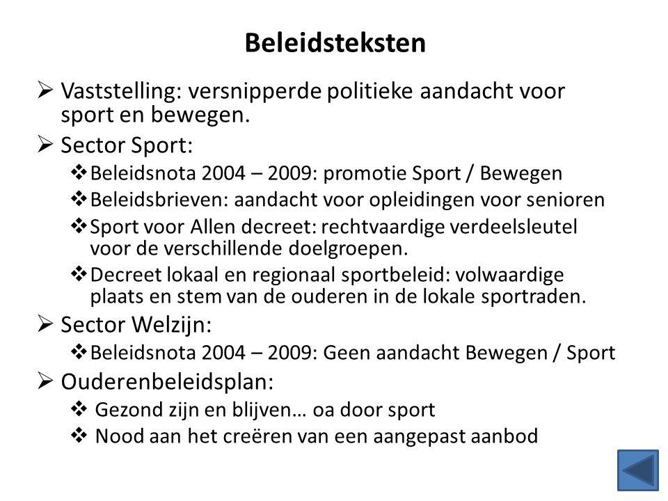 Beleidsteksten  Vaststelling: versnipperde politieke aandacht voor sport en bewegen.  Sector Sport:  Beleidsnota 2004 – 2009: promotie Sport / Bewe