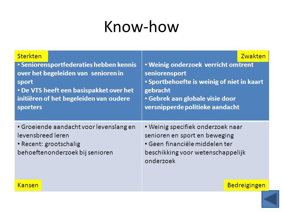 Know-how Seniorensportfederaties hebben kennis over het begeleiden van senioren in sport De VTS heeft een basispakket over het initiëren of het begele