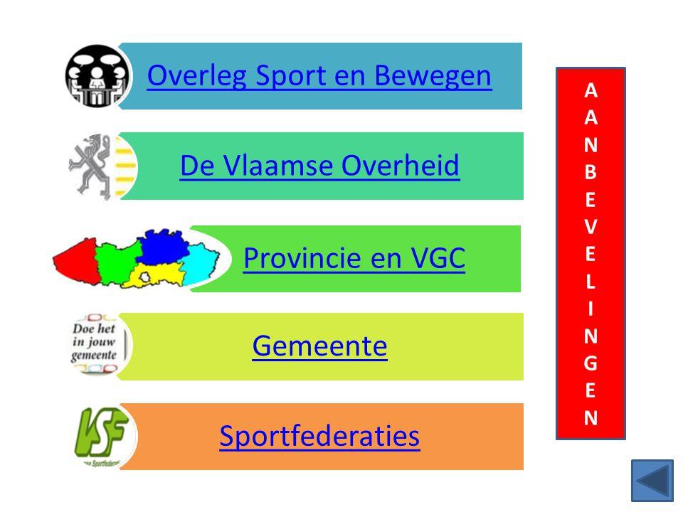AANBEVELINGENAANBEVELINGEN Overleg Sport en Bewegen De Vlaamse Overheid Provincie en VGC Gemeente Sportfederaties