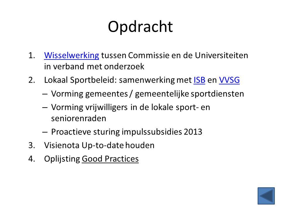 Opdracht 1.Wisselwerking tussen Commissie en de Universiteiten in verband met onderzoekWisselwerking 2.Lokaal Sportbeleid: samenwerking met ISB en VVS
