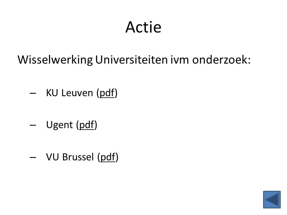 Actie Wisselwerking Universiteiten ivm onderzoek: – KU Leuven (pdf) – Ugent (pdf) – VU Brussel (pdf)