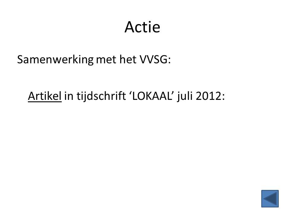 Actie Samenwerking met het VVSG: Artikel in tijdschrift 'LOKAAL' juli 2012: