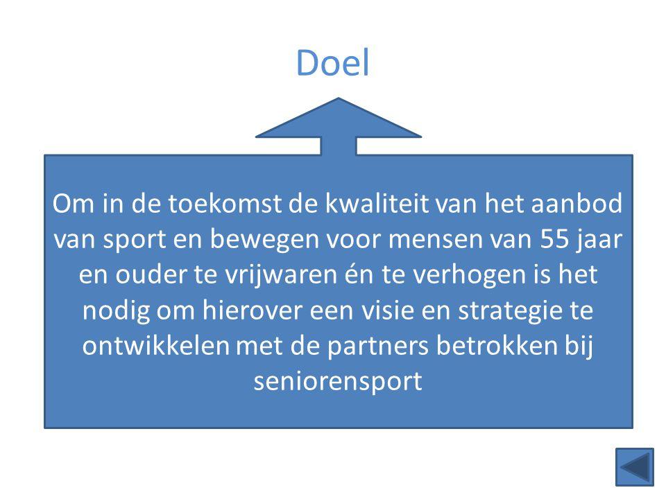 Doel Om in de toekomst de kwaliteit van het aanbod van sport en bewegen voor mensen van 55 jaar en ouder te vrijwaren én te verhogen is het nodig om h
