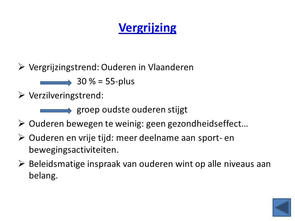 Vergrijzing  Vergrijzingstrend: Ouderen in Vlaanderen 30 % = 55-plus  Verzilveringstrend: groep oudste ouderen stijgt  Ouderen bewegen te weinig: g
