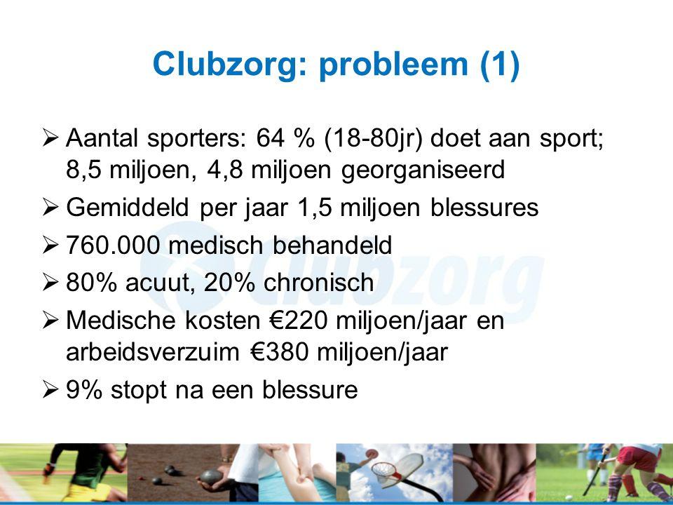 Clubzorg: probleem (1)  Aantal sporters: 64 % (18-80jr) doet aan sport; 8,5 miljoen, 4,8 miljoen georganiseerd  Gemiddeld per jaar 1,5 miljoen blessures  760.000 medisch behandeld  80% acuut, 20% chronisch  Medische kosten €220 miljoen/jaar en arbeidsverzuim €380 miljoen/jaar  9% stopt na een blessure