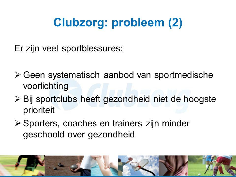 Clubzorg: probleem (2) Er zijn veel sportblessures:  Geen systematisch aanbod van sportmedische voorlichting  Bij sportclubs heeft gezondheid niet d