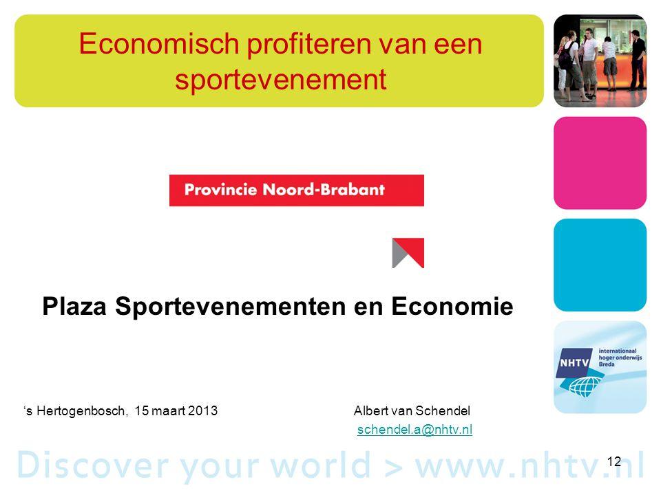 Economisch profiteren van een sportevenement Plaza Sportevenementen en Economie 's Hertogenbosch, 15 maart 2013Albert van Schendel schendel.a@nhtv.nl