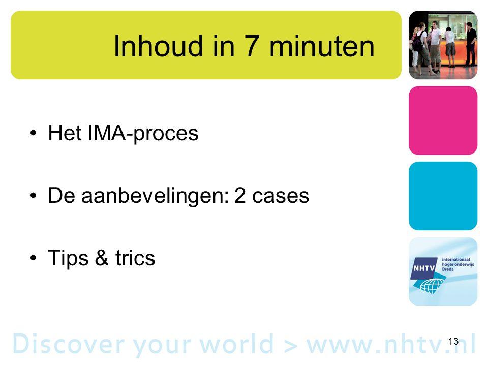 Inhoud in 7 minuten Het IMA-proces De aanbevelingen: 2 cases Tips & trics 13