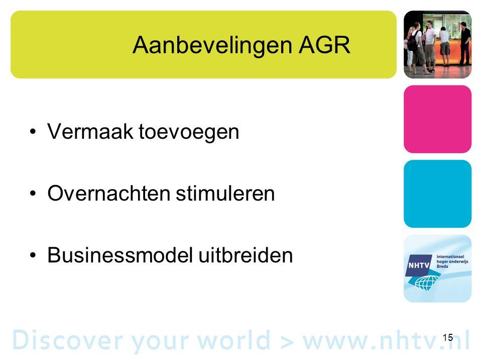 Aanbevelingen AGR Vermaak toevoegen Overnachten stimuleren Businessmodel uitbreiden 15