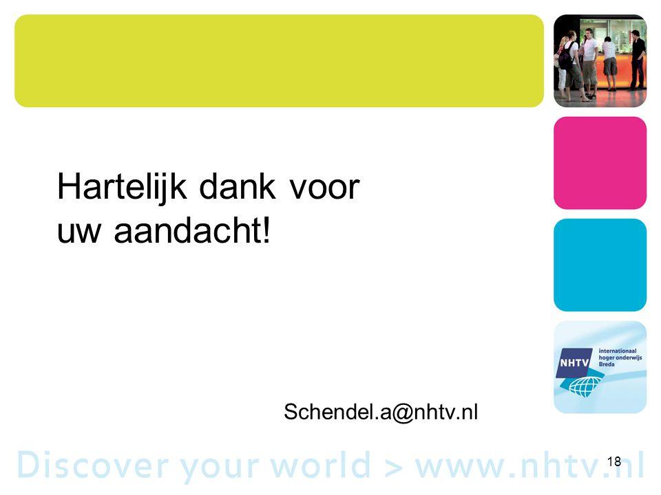 Hartelijk dank voor uw aandacht! 18 Schendel.a@nhtv.nl 's Hertogenbosch, 15 maart 2013 Albert van Schendel schendel.a@nhtv.nl