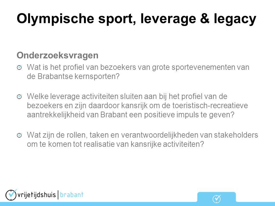 Olympische sport, leverage & legacy Onderzoeksvragen Wat is het profiel van bezoekers van grote sportevenementen van de Brabantse kernsporten? Welke l