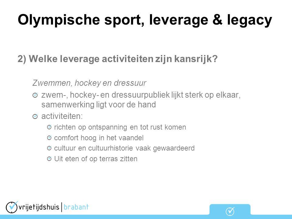 Olympische sport, leverage & legacy 2) Welke leverage activiteiten zijn kansrijk? Zwemmen, hockey en dressuur zwem-, hockey- en dressuurpubliek lijkt