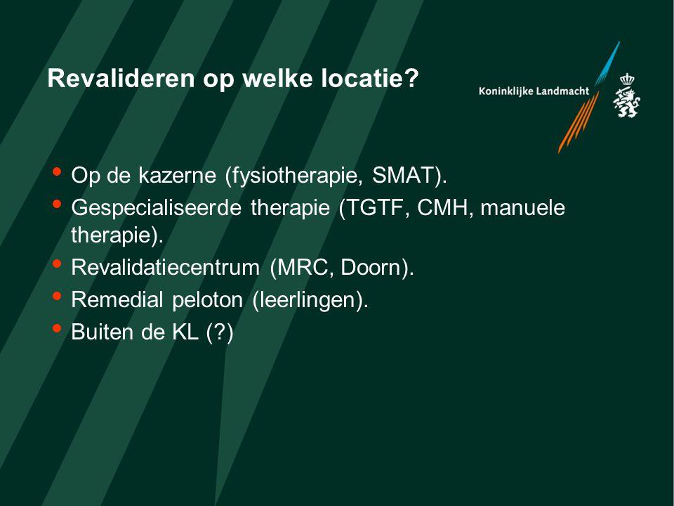Revalideren op welke locatie?  Op de kazerne (fysiotherapie, SMAT).  Gespecialiseerde therapie (TGTF, CMH, manuele therapie).  Revalidatiecentrum (