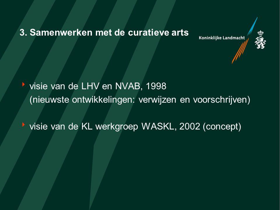 3. Samenwerken met de curatieve arts  visie van de LHV en NVAB, 1998 (nieuwste ontwikkelingen: verwijzen en voorschrijven)  visie van de KL werkgroe