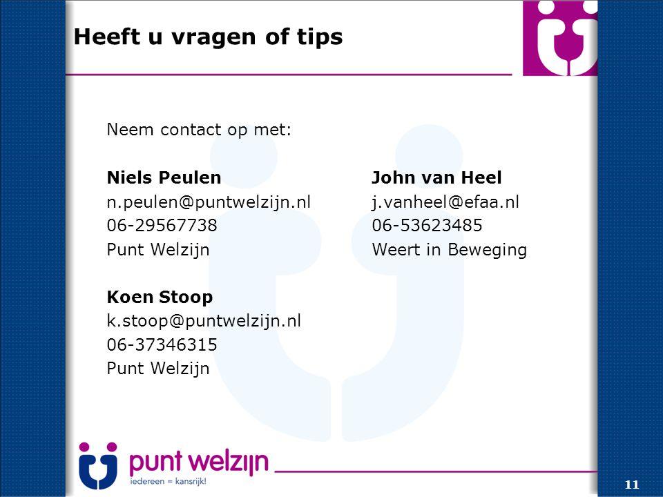 Heeft u vragen of tips Neem contact op met: Niels PeulenJohn van Heel n.peulen@puntwelzijn.nlj.vanheel@efaa.nl 06-2956773806-53623485 Punt WelzijnWeert in Beweging Koen Stoop k.stoop@puntwelzijn.nl 06-37346315 Punt Welzijn 11