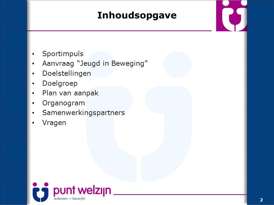 Inhoudsopgave Sportimpuls Aanvraag Jeugd in Beweging Doelstellingen Doelgroep Plan van aanpak Organogram Samenwerkingspartners Vragen 2