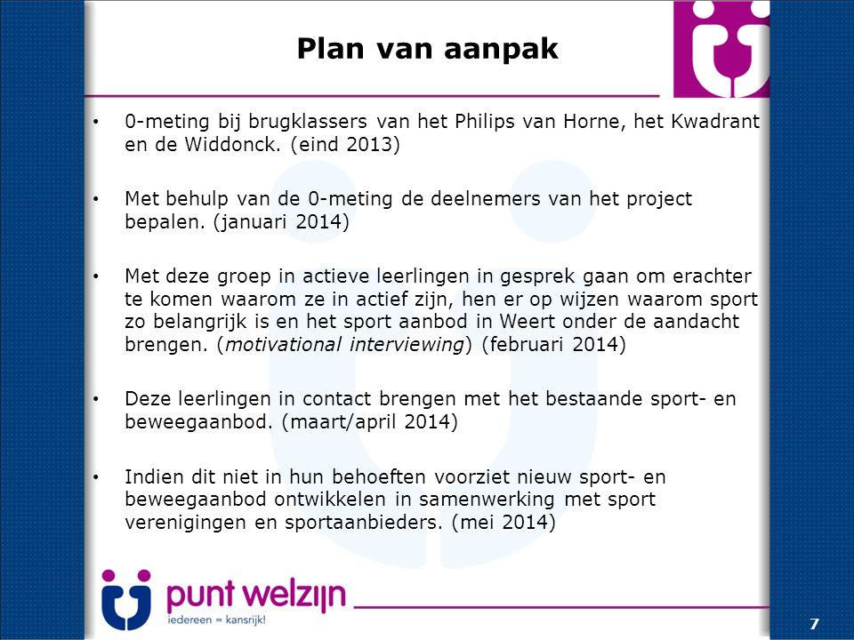 Plan van aanpak 0-meting bij brugklassers van het Philips van Horne, het Kwadrant en de Widdonck.