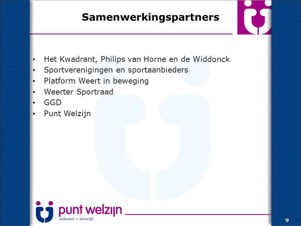 Samenwerkingspartners Het Kwadrant, Philips van Horne en de Widdonck Sportverenigingen en sportaanbieders Platform Weert in beweging Weerter Sportraad GGD Punt Welzijn 9