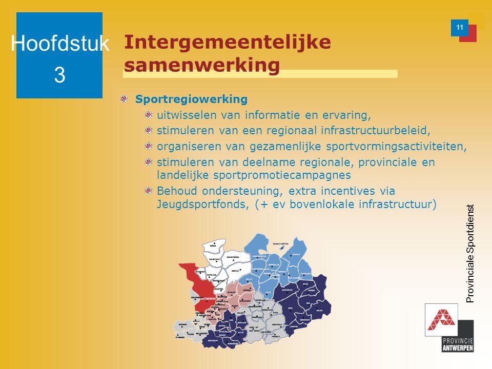 11 Provinciale Sportdienst Intergemeentelijke samenwerking Sportregiowerking uitwisselen van informatie en ervaring, stimuleren van een regionaal infrastructuurbeleid, organiseren van gezamenlijke sportvormingsactiviteiten, stimuleren van deelname regionale, provinciale en landelijke sportpromotiecampagnes Behoud ondersteuning, extra incentives via Jeugdsportfonds, (+ ev bovenlokale infrastructuur) Hoofdstuk 3