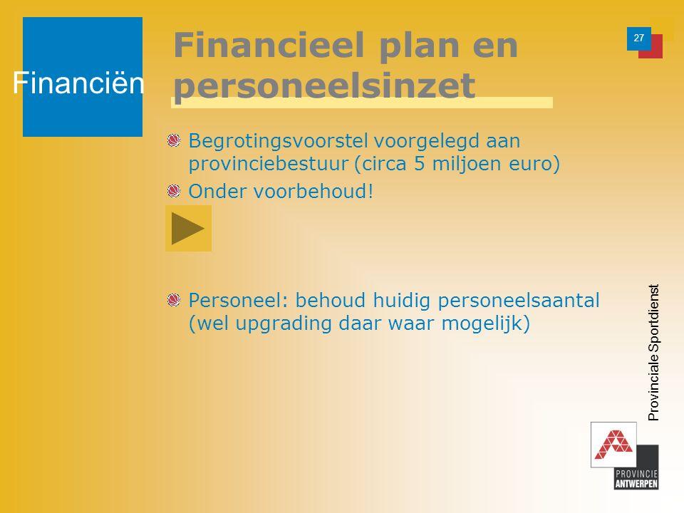 27 Provinciale Sportdienst Financieel plan en personeelsinzet Begrotingsvoorstel voorgelegd aan provinciebestuur (circa 5 miljoen euro) Onder voorbehoud.
