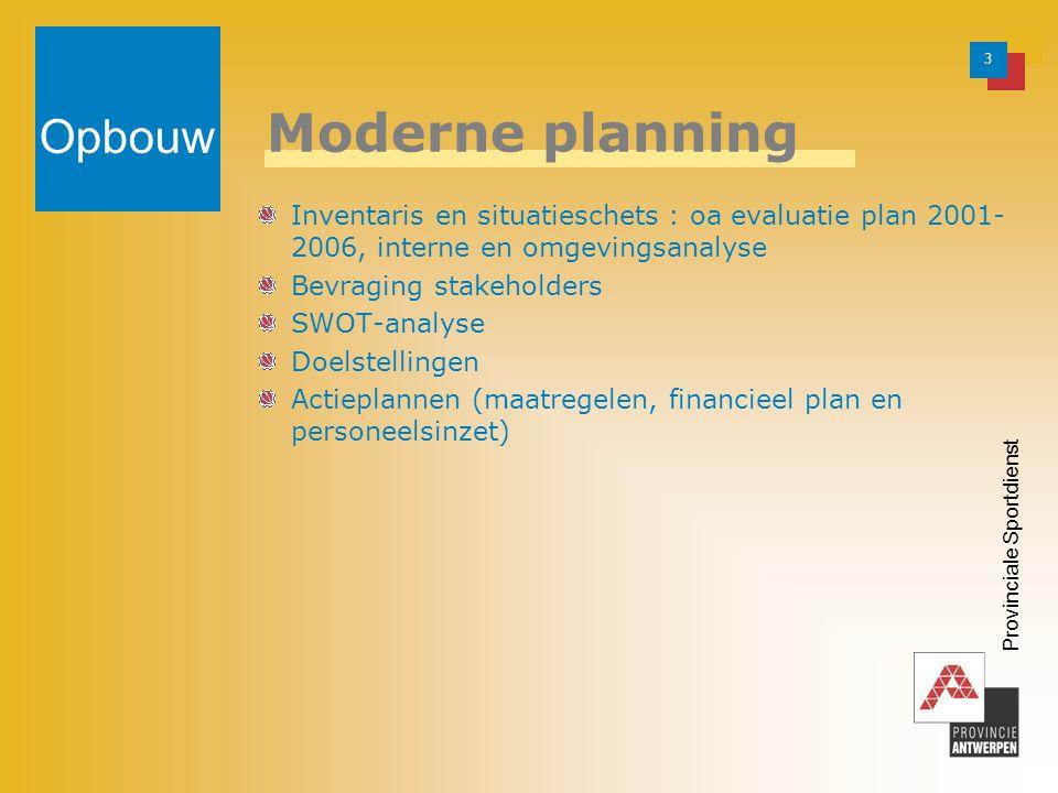 3 Provinciale Sportdienst Moderne planning Inventaris en situatieschets : oa evaluatie plan 2001- 2006, interne en omgevingsanalyse Bevraging stakeholders SWOT-analyse Doelstellingen Actieplannen (maatregelen, financieel plan en personeelsinzet) Opbouw