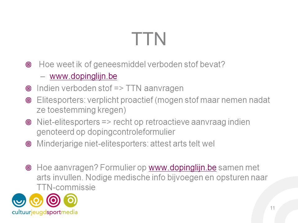 TTN Hoe weet ik of geneesmiddel verboden stof bevat? –www.dopinglijn.bewww.dopinglijn.be Indien verboden stof => TTN aanvragen Elitesporters: verplich
