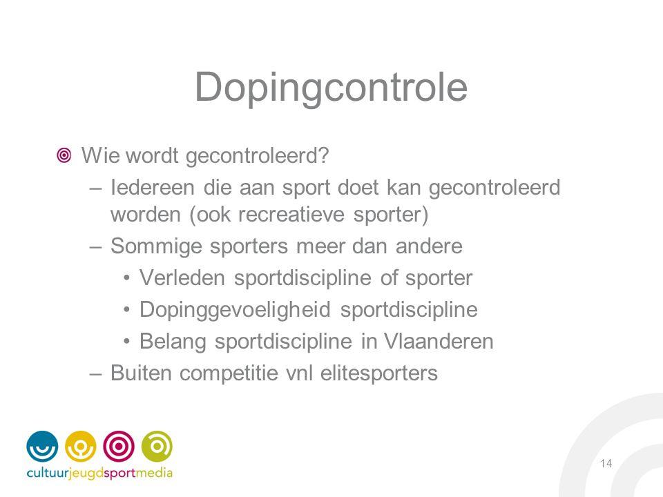 Dopingcontrole Wie wordt gecontroleerd? –Iedereen die aan sport doet kan gecontroleerd worden (ook recreatieve sporter) –Sommige sporters meer dan and
