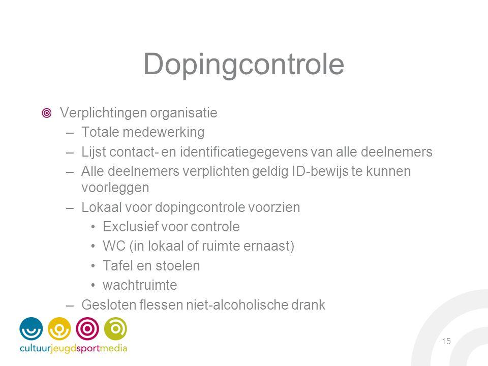 Dopingcontrole Verplichtingen organisatie –Totale medewerking –Lijst contact- en identificatiegegevens van alle deelnemers –Alle deelnemers verplichte