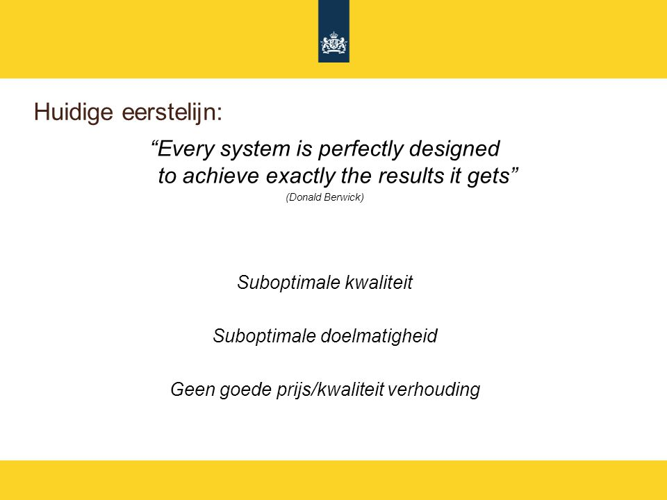 "Huidige eerstelijn: ""Every system is perfectly designed to achieve exactly the results it gets"" (Donald Berwick) Suboptimale kwaliteit Suboptimale doe"