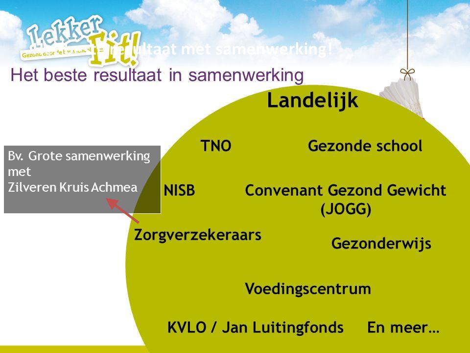6 Landelijk TNO NISB Voedingscentrum Convenant Gezond Gewicht (JOGG) KVLO / Jan Luitingfonds Gezonde school Gezonderwijs En meer… Zorgverzekeraars Bv.