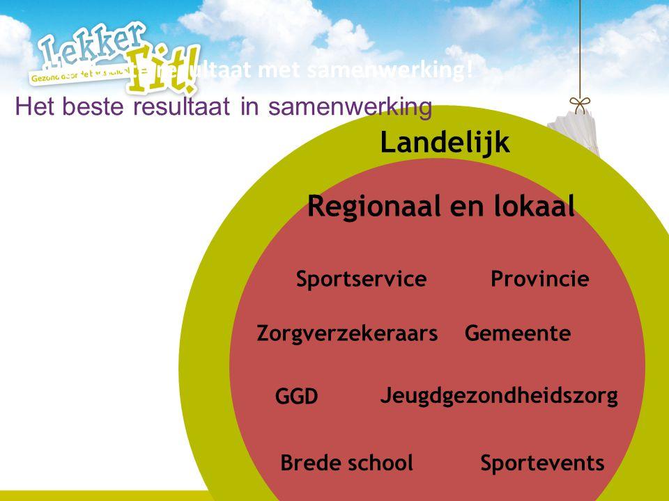 7 Landelijk Zorgverzekeraars Sportservice GGD Brede school Gemeente Sportevents Provincie Jeugdgezondheidszorg Regionaal en lokaal Het beste resultaat