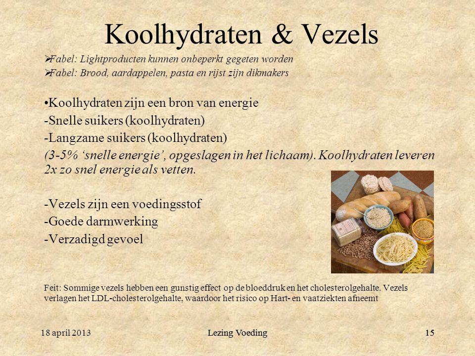 Lezing Voeding1518 april 2013Lezing Voeding15 Koolhydraten & Vezels  Fabel: Lightproducten kunnen onbeperkt gegeten worden  Fabel: Brood, aardappele