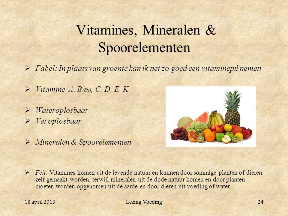 Lezing Voeding24 Vitamines, Mineralen & Spoorelementen  Fabel: In plaats van groente kan ik net zo goed een vitaminepil nemen  Vitamine A, B (8x), C, D, E, K.