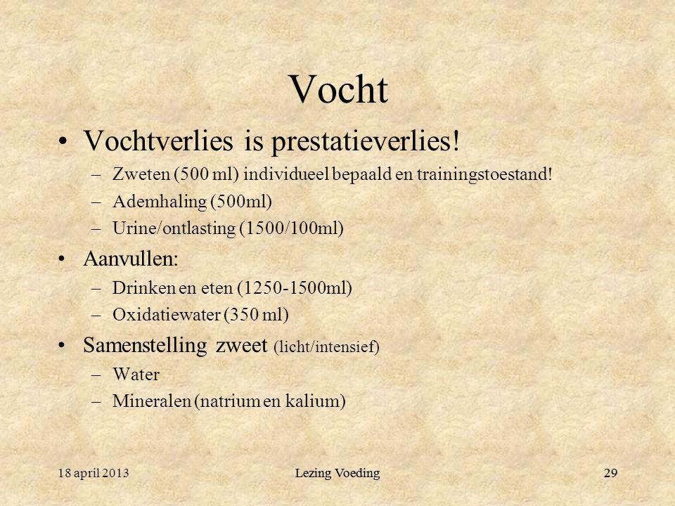 Lezing Voeding29 Vocht Vochtverlies is prestatieverlies.